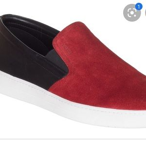 Prada Men's Red and Black Two Tone Slip Loafers